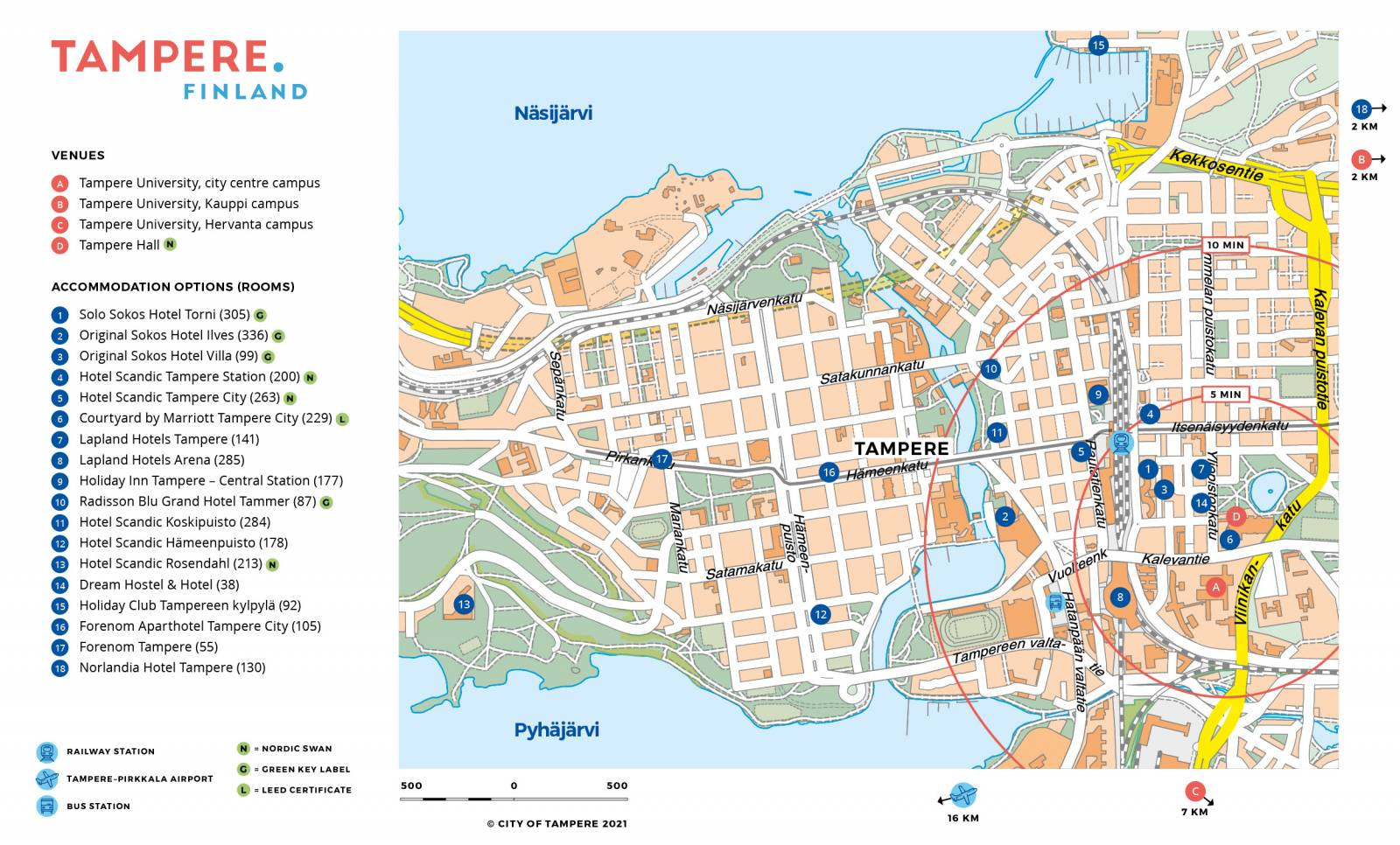 Tampere hotel map