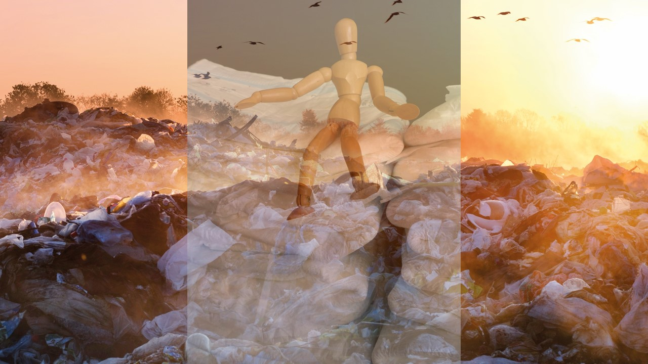 picture of a wooden doll sitting on a stack of incontinence pads merged with a picture of a landfill in sunrise